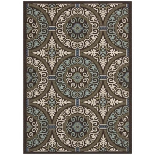 Safavieh Veranda Piled Indoor/ Outdoor Chocolate/ Cream Rug (6'7 x 9'6)
