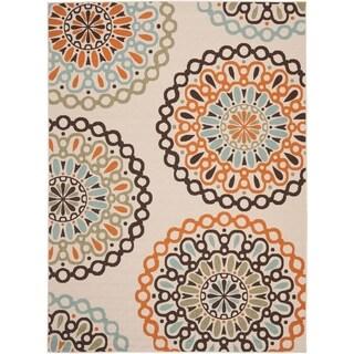 Safavieh Veranda Piled Indoor/ Outdoor Cream/ Terracotta Rug (8' x 11'2)