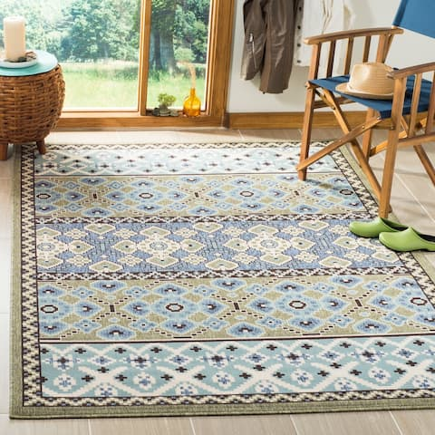 Safavieh Veranda Piled Indoor/ Outdoor Green/ Blue Rug - 8' x 11'