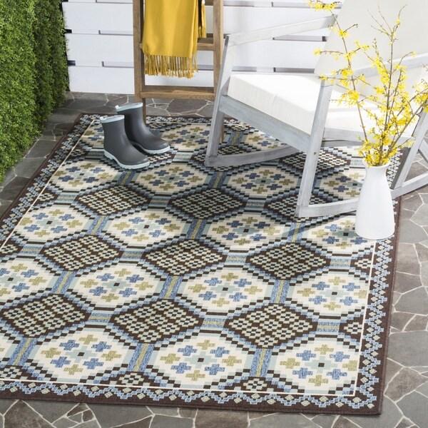 Safavieh Veranda Piled Indoor/ Outdoor Blue/ Chocolate Rug (8' x 11'2)