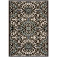 Safavieh Veranda Piled Indoor/ Outdoor Chocolate/ Cream Rug - 8' x 11'2