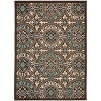 Safavieh Veranda Piled Indoor/ Outdoor Chocolate/ Cream Rug - 8' x 11'2""