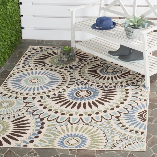 Shop Safavieh Veranda Piled Indoor Outdoor Cream Blue Area Rug 8