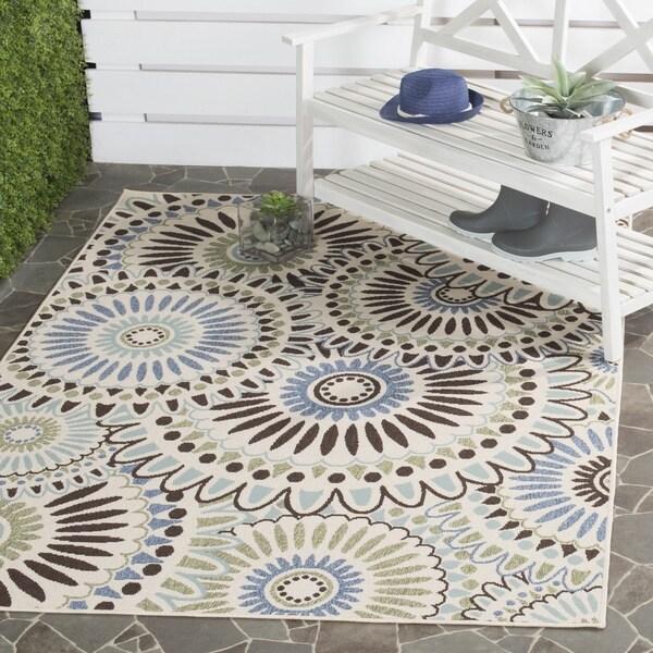 Safavieh Veranda Piled Indoor/ Outdoor Cream/ Blue Area Rug - 8' x 11'2