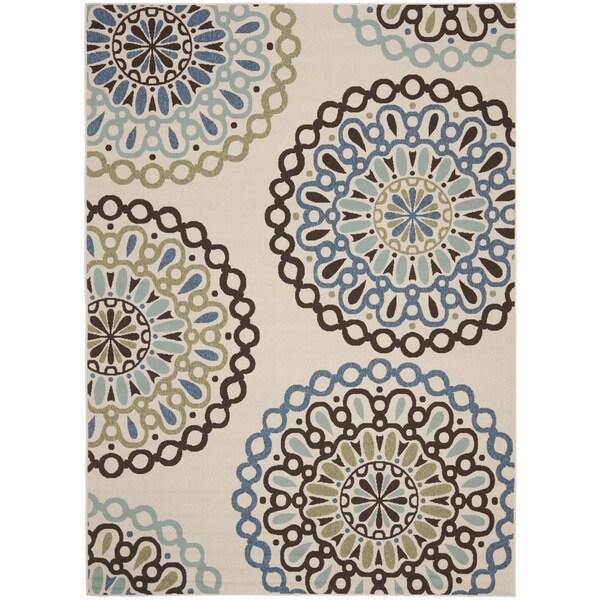 Safavieh Veranda Piled Indoor/ Outdoor Cream/ Blue Rug (4' x 5'7)
