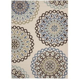 Safavieh Veranda Piled Indoor/ Outdoor Cream/ Blue Rug (5'3 x 7'7)