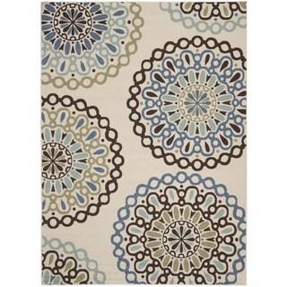 Safavieh Veranda Piled Indoor/ Outdoor Cream/ Blue Rug (6'7 x 9'6)