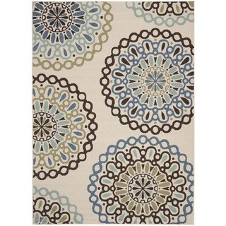 Safavieh Veranda Piled Indoor/ Outdoor Cream/ Blue Rug (8' x 11'2)