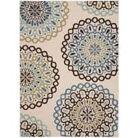 Safavieh Veranda Piled Indoor/ Outdoor Cream/ Blue Rug - 8' x 11'-2""