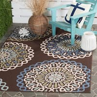 "Safavieh Veranda Piled Indoor/ Outdoor Chocolate/ Blue Rug - 5'3"" x 7'7"""