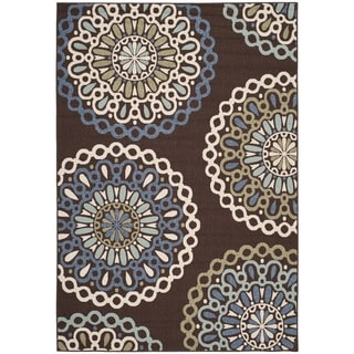 Safavieh Veranda Piled Indoor/ Outdoor Chocolate/ Blue Rug (8' x 11'2)