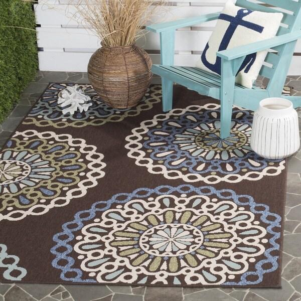 Safavieh Veranda Piled Indoor/ Outdoor Chocolate/ Blue Rug - 8' x 11'2
