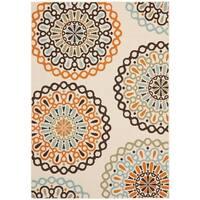 Safavieh Veranda Piled Indoor/ Outdoor Cream/ Terracotta Rug - 4' x 5'7