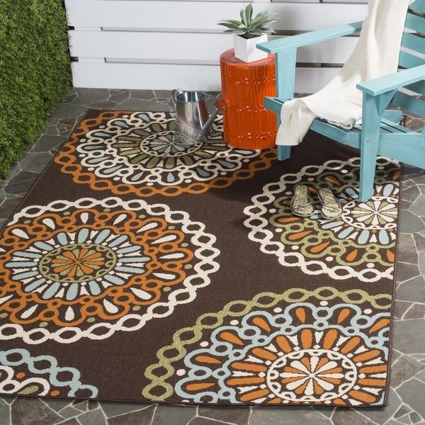 Safavieh Veranda Piled Indoor/ Outdoor Chocolate/ Terracotta Rug (8' x 11'2)