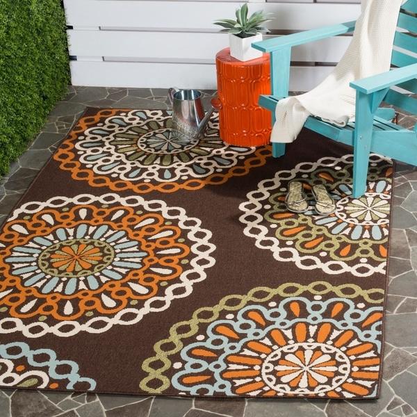Safavieh Veranda Piled Indoor/ Outdoor Chocolate/ Terracotta Rug - 8' x 11'2