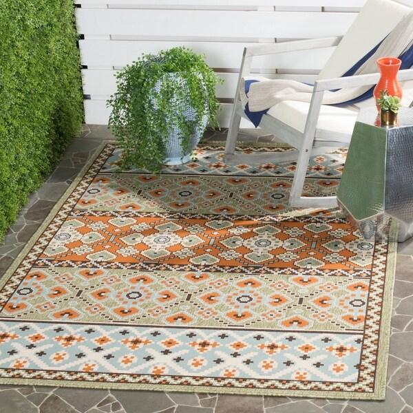 """Safavieh Veranda Piled Indoor/ Outdoor Green/ Terracotta Rug - 4' x 5'7"""""""