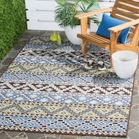 """Safavieh Veranda Piled Indoor/ Outdoor Blue/ Cream Rug - 6'7"""" x 9'6"""""""