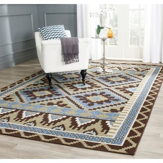 Safavieh Veranda Piled Indoor/ Outdoor Green/ Chocolate Rug (6'7 x 9'6)