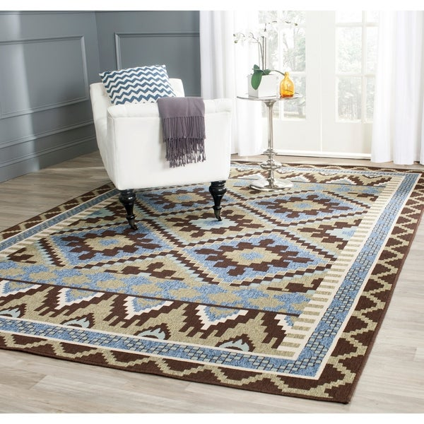 Safavieh Veranda Piled Indoor/ Outdoor Green/ Chocolate Rug (8' x 11'2)