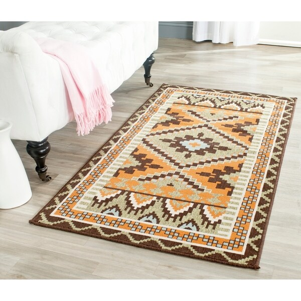 Safavieh Veranda Piled Indoor/ Outdoor Green/ Terracotta Rug - 2'7 x 5'
