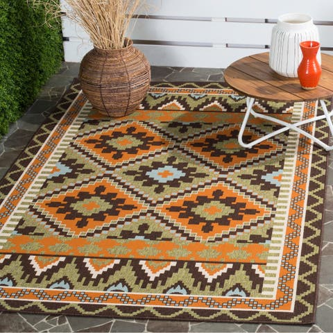 "Safavieh Veranda Piled Indoor/Outdoor Green/Terracotta Area Rug - 6'7"" x 9'6"""