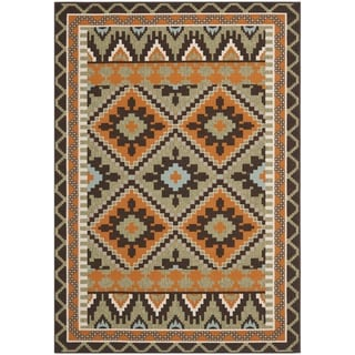 "Safavieh Veranda Piled Indoor/Outdoor Green/Terracotta Area Rug (6'7"" x 9'6"")"