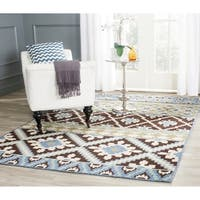Safavieh Veranda Piled Indoor/Outdoor Chocolate/Blue Polypropylene Rug - 8' x 11'2'