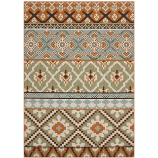 Safavieh Veranda Piled Indoor/ Outdoor Green/ Terracotta Rug (5'3 x 7'7)
