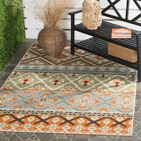 Safavieh Veranda Piled Indoor/ Outdoor Green/ Terracotta Rug - 6'7 x 9'6