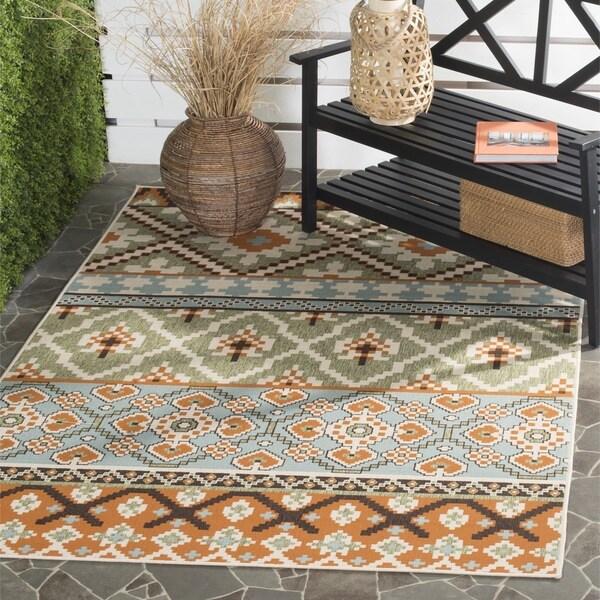 Safavieh Veranda Piled Indoor/ Outdoor Green/ Terracotta Rug (6'7 x 9'6)