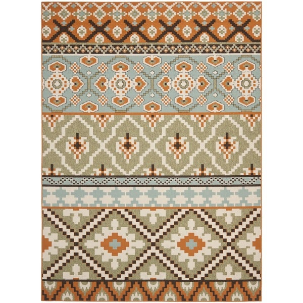 Safavieh Veranda Piled Indoor/ Outdoor Green/ Terracotta Rug (8' x 11'2)