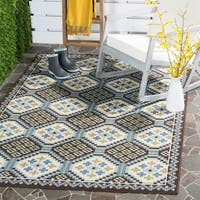 "Safavieh Veranda Piled Indoor/ Outdoor Blue/ Chocolate Rug - 5'3"" x 7'7"""