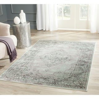 Safavieh Vintage Oriental Light Blue Distressed Silky Viscose Rug (4' x 5'7)