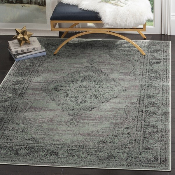 Safavieh Vintage Oriental Light Blue Distressed Silky Viscose Rug (5'3 x 7'6)