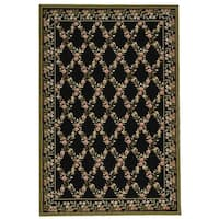 "Safavieh Hand-Hooked Wilton Black/Green Indoor New Zealand Wool Rug - 5'6"" x 8'6"""