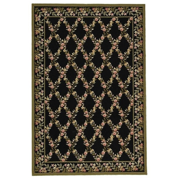 "Safavieh Hand-hooked Wilton Black/ Green New Zealand Wool Rug - 7'9"" x 9'9"""
