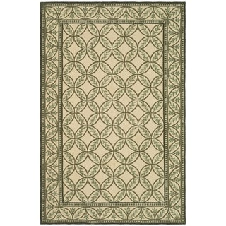 Safavieh Hand-hooked Wilton Taupe/ Green New Zealand Wool Rug (8'6 x 11'6)