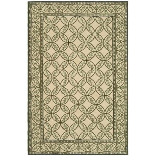 "Safavieh Hand-hooked Wilton Taupe/ Green New Zealand Wool Rug - 8'6"" x 11'6"""