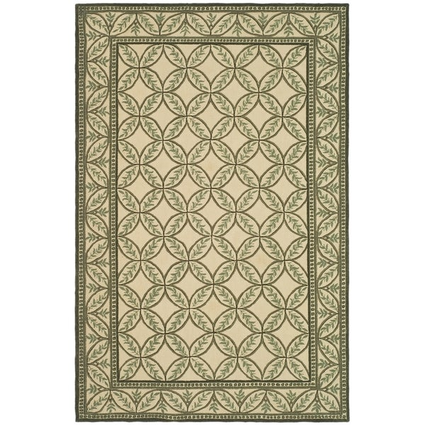 Safavieh Hand-hooked Wilton Taupe/ Green New Zealand Wool Rug - 8'6 x 11'6