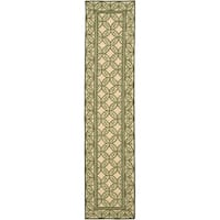 "Safavieh Hand-hooked Wilton Taupe/ Green New Zealand Wool Rug - 2'3"" x 10'"