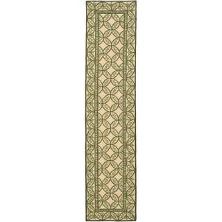 "Safavieh Hand-hooked Wilton Taupe/ Green New Zealand Wool Rug - 2'3"" x 10'"