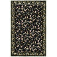 Safavieh Hand-hooked Wilton Black/ Green New Zealand Wool Rug - 5'6 x 8'6