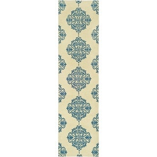 Safavieh Hand-Hooked Chelsea Ivory/Blue Geometric Wool Rug (2'6 x 14')