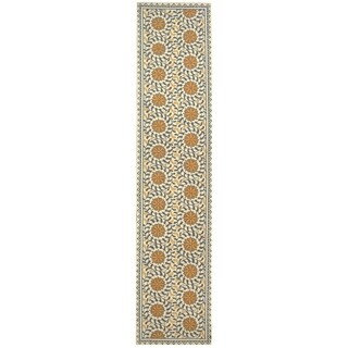 Safavieh Hand-hooked Chelsea Ivory/ Blue Wool Rug (2'6 x 14')