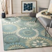 Safavieh Handmade Jardin Grey/ Blue Wool Rug - 9' x 12'