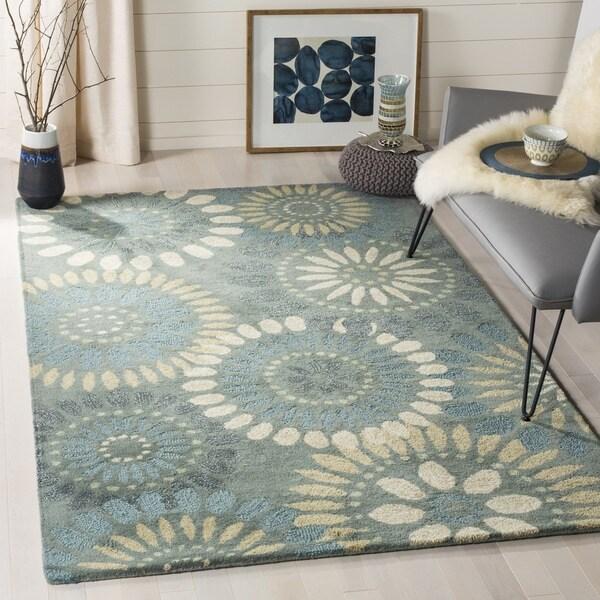 Safavieh Handmade Jardin Grey/ Blue Wool Rug (9' x 12')