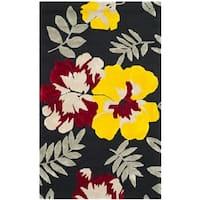 "Safavieh Hand-hooked Wilton Black/ Multi New Zealand Wool Rug - 3'-9"" x 5'-9"""