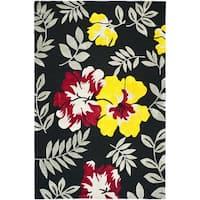 Safavieh Hand-hooked Wilton Black/ Multi New Zealand Wool Rug - 5'6 x 8'6