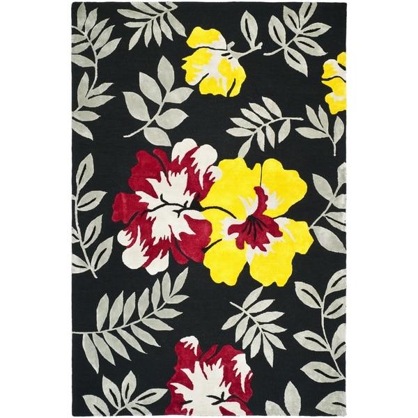 "Safavieh Hand-hooked Wilton Black/ Multi New Zealand Wool Rug - 7'9"" x 9'9"""