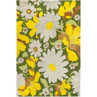 Safavieh Hand-hooked Wilton Dark Green/ Multi New Zealand Wool Rug (5' x 8')